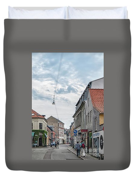 Duvet Cover featuring the photograph Aarhus Urban Scene by Antony McAulay