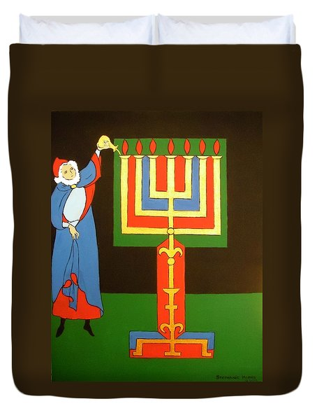 Duvet Cover featuring the painting Aaron Lighting The Menorah by Stephanie Moore