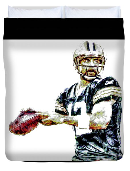 Duvet Cover featuring the photograph Aaron Rodgers Green Bay Packers Painted by David Haskett
