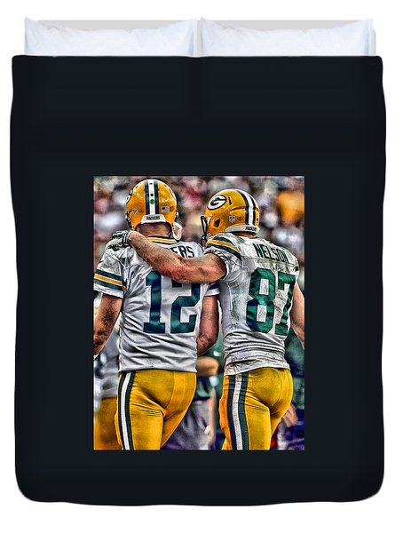 Aaron Rodgers Jordy Nelson Green Bay Packers Art Duvet Cover