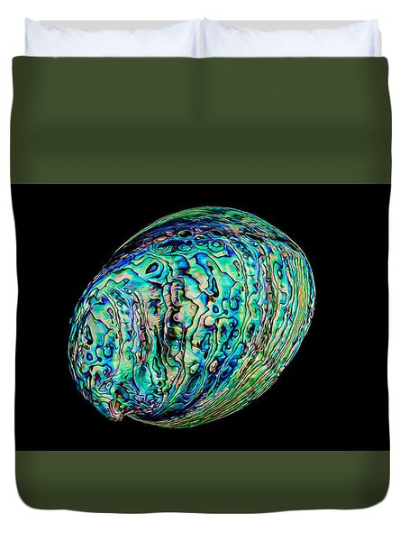 Abalone On Black Duvet Cover by Rikk Flohr