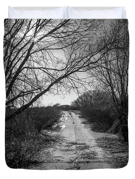 Abandoned 66 In Black And White Duvet Cover