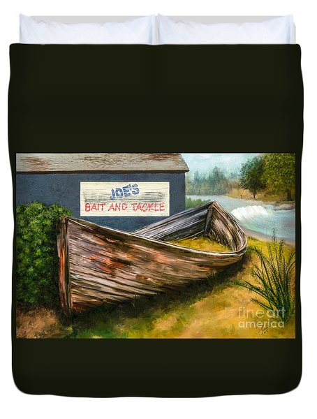 Painting Of Abandoned And Rotted Out Boat   Duvet Cover