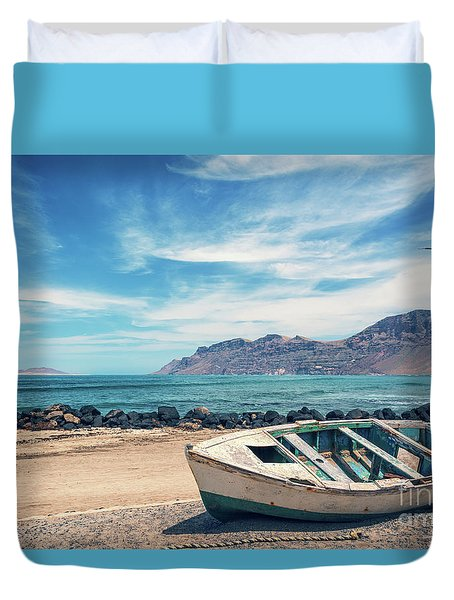 Abandoned Boat Duvet Cover by Delphimages Photo Creations