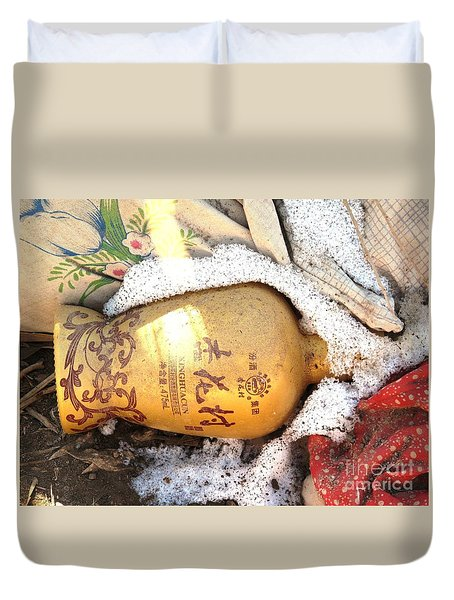 Duvet Cover featuring the photograph Abandoned Bottle by Ethna Gillespie