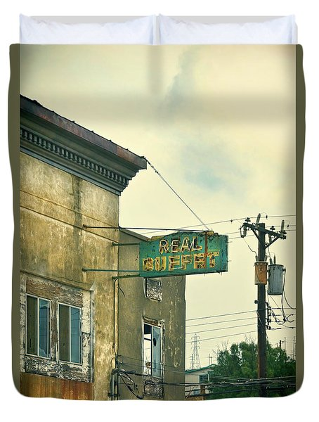 Duvet Cover featuring the photograph Abandoned Building by Jill Battaglia