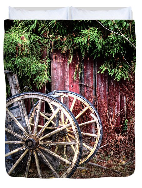Duvet Cover featuring the photograph Abandoned Cart by Jim and Emily Bush