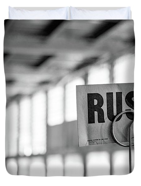 Abandoned Factory, Lewiston, Maine  -48683-bw Duvet Cover