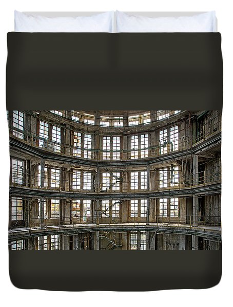 Duvet Cover featuring the photograph Abandoned Factory Tower - Panorama Industrial Decay by Dirk Ercken