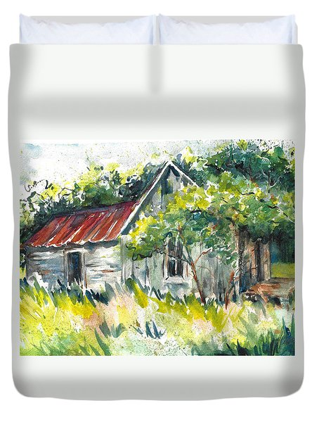 Abandoned Farmhouse In The Ozark Mountains On The Gravel Road To Hawk's Bill Crag At Whitaker Point Duvet Cover