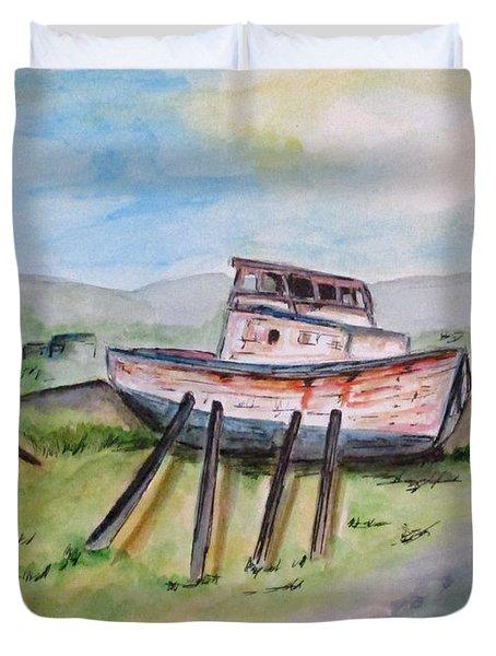 Abandoned Fishing Boat Duvet Cover