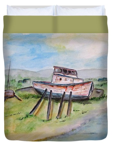 Abandoned Fishing Boat Duvet Cover by Clyde J Kell