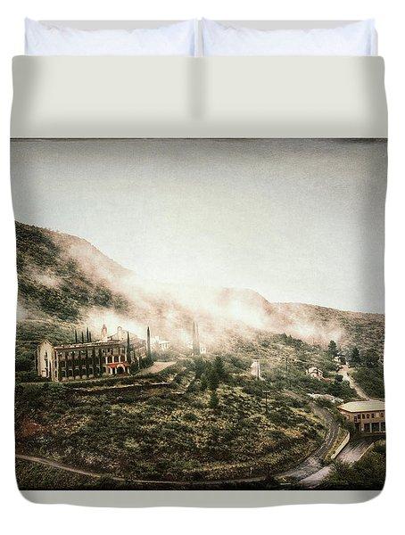 Abandoned Hotel In The Fog Duvet Cover