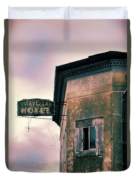 Duvet Cover featuring the photograph Abandoned Hotel by Jill Battaglia