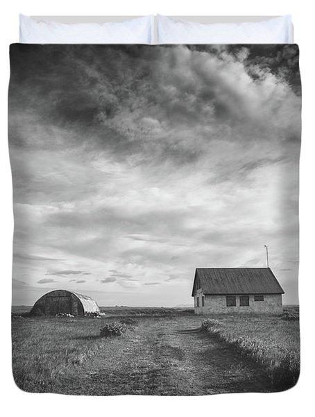 Abandoned Iceland Bw  Duvet Cover