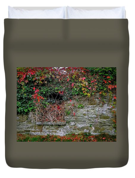 Duvet Cover featuring the photograph Abandoned Irish Cottage In Autumn by James Truett