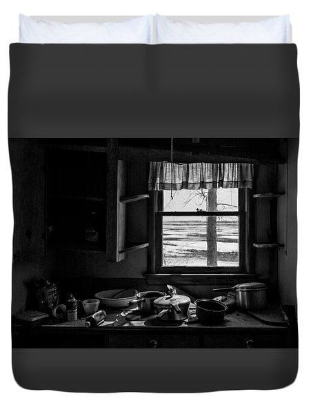 Duvet Cover featuring the photograph Abandoned Kitchen by Dan Traun