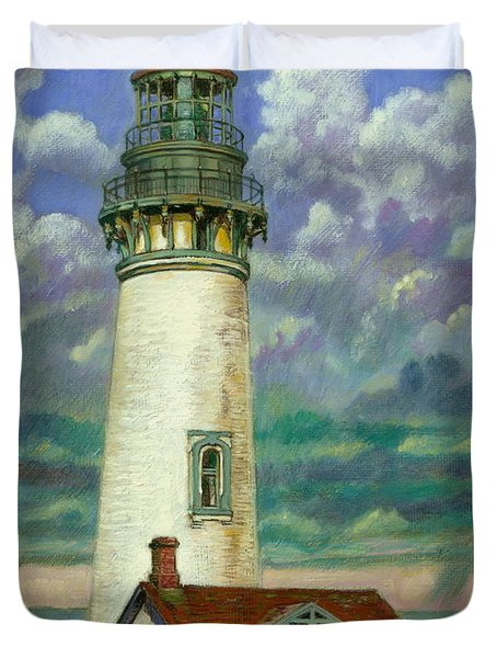 Abandoned Lighthouse Duvet Cover by John Lautermilch