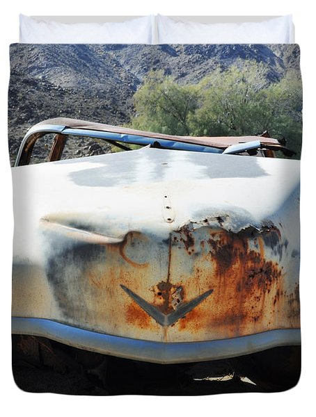 Duvet Cover featuring the photograph Abandoned Mojave Auto by Kyle Hanson