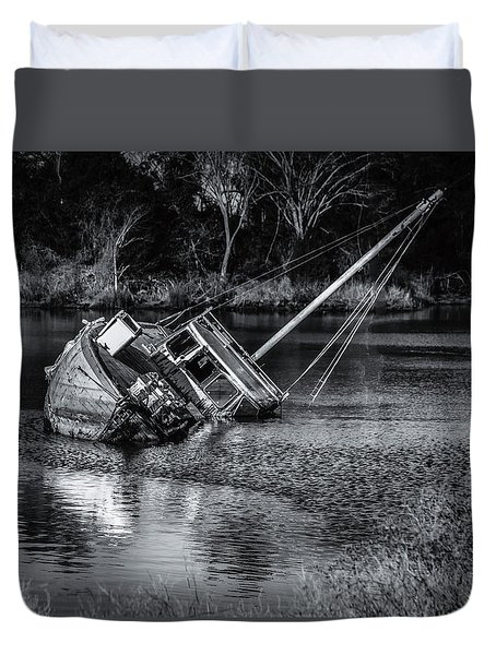 Abandoned Ship In Monochrome Duvet Cover