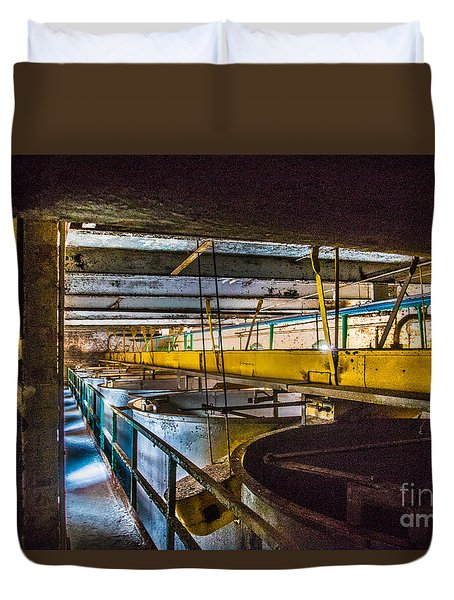 Duvet Cover featuring the photograph Abandoned Silo Vats by Darleen Stry