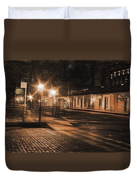 Duvet Cover featuring the photograph Abandoned Street by Michael Cleere