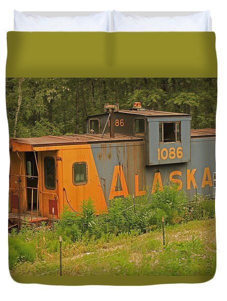 Abandoned Train Caboose In Alaska Duvet Cover by Ronald Olivier