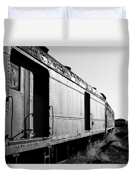 Abandoned Train Cars Duvet Cover