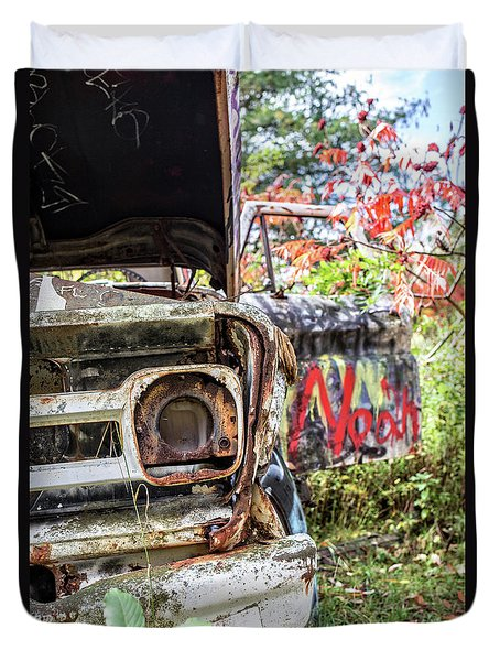 Duvet Cover featuring the photograph Abandoned Truck With Spray Paint by Edward Fielding
