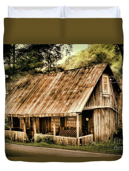 Duvet Cover featuring the photograph Abandoned Vintage House In The Woods by Dan Carmichael