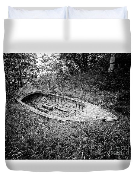 Duvet Cover featuring the photograph Abandoned Wooden Boat Alaska by Edward Fielding