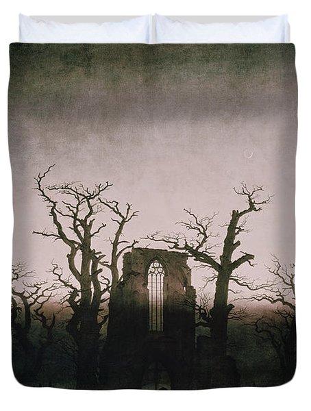 Abbey In The Oakwood Duvet Cover by Caspar David Friedrich