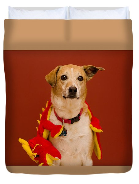 Abbie And Dragon Toy Duvet Cover