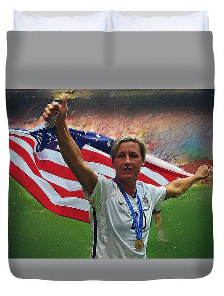 Abby Wambach Us Soccer Duvet Cover by Semih Yurdabak