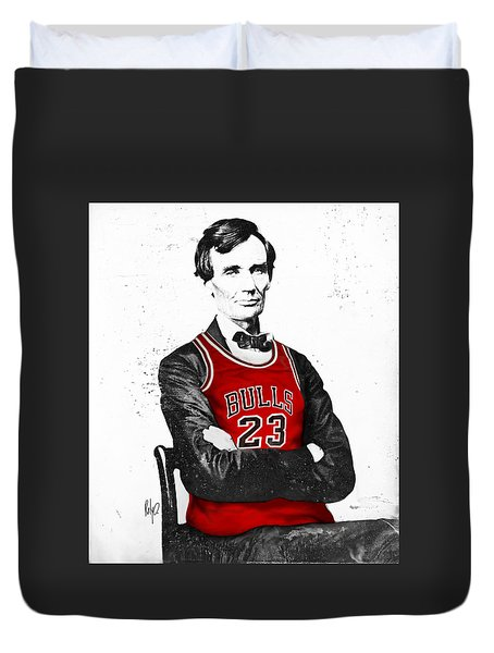 Abe Lincoln In A Bulls Jersey Duvet Cover