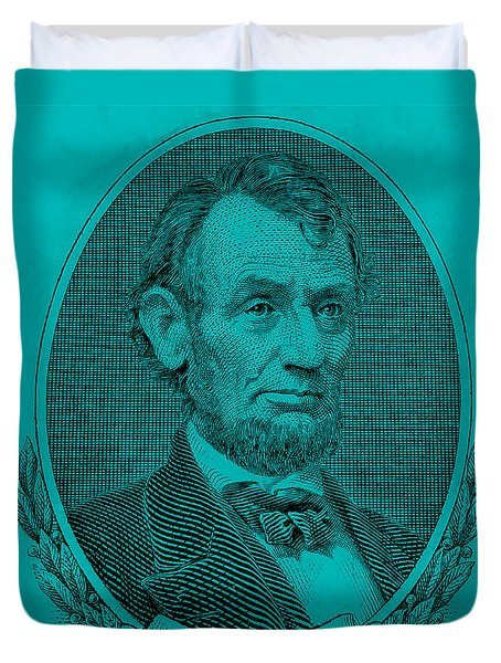 Duvet Cover featuring the photograph Abe On The 5 Aqua Blue by Rob Hans
