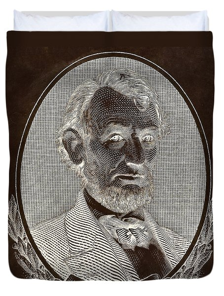Duvet Cover featuring the photograph Abe On The 5 B W Inverted Brown by Rob Hans