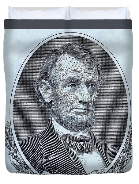 Duvet Cover featuring the photograph Abe On The 5 Cyan by Rob Hans