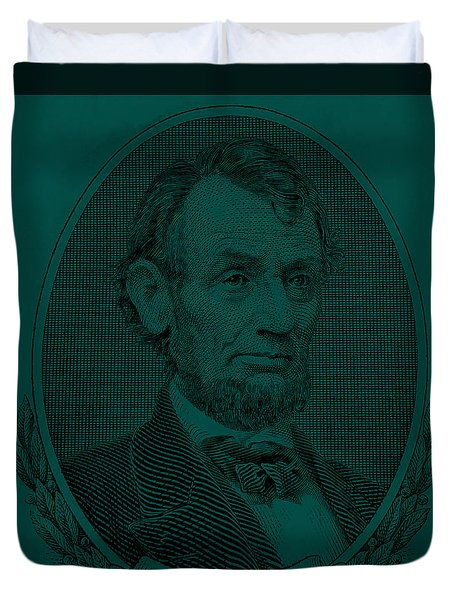 Duvet Cover featuring the photograph Abe On The 5 Greenishblue by Rob Hans