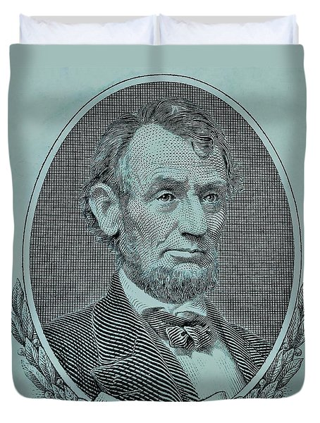 Duvet Cover featuring the photograph Abe On The 5 Lite Blue by Rob Hans