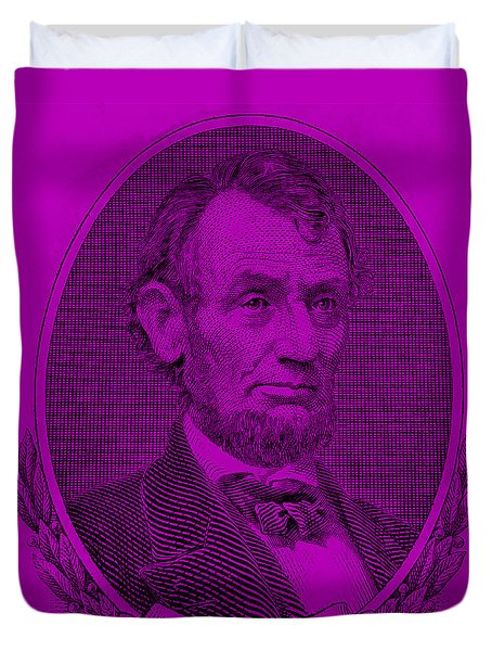 Duvet Cover featuring the photograph Abe On The 5 Purple by Rob Hans