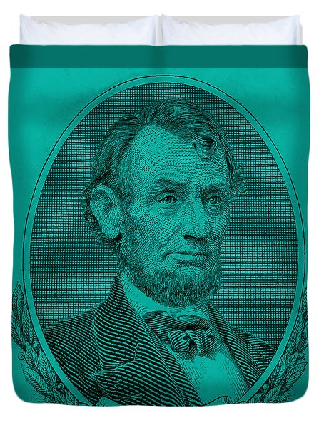 Duvet Cover featuring the photograph Abe On The 5 Turquoise by Rob Hans