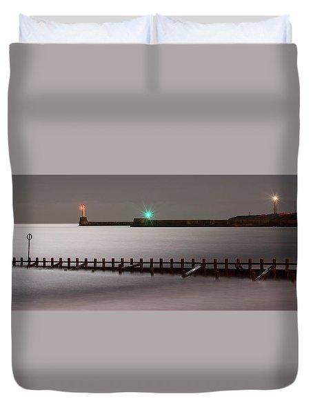 Aberdeen Beach At Night _ Pano Duvet Cover