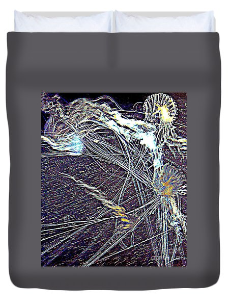 Duvet Cover featuring the photograph Aberration Of Jelly Fish In Rhapsody Series 1 by Antonia Citrino