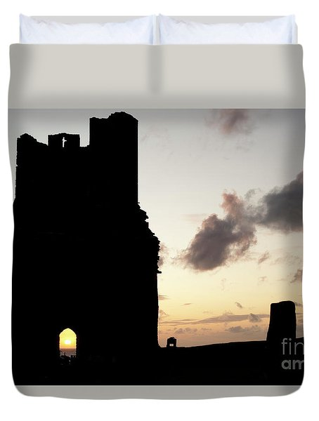 Aberystwyth Castle Tower Ruins At Sunset, Wales Uk Duvet Cover