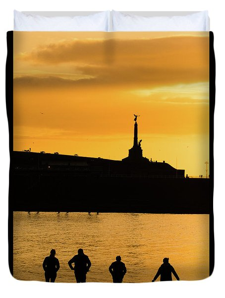 Aberystwyth Sunset Silhouettes Duvet Cover