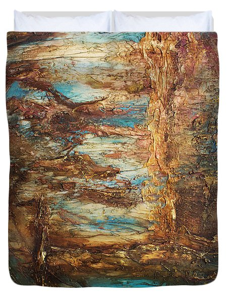 Duvet Cover featuring the painting Lagoon by Patricia Lintner