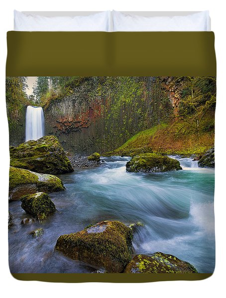Abiqua Falls In Spring Duvet Cover by David Gn