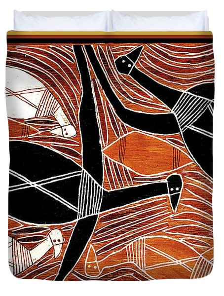 Aboriginal Birds Duvet Cover
