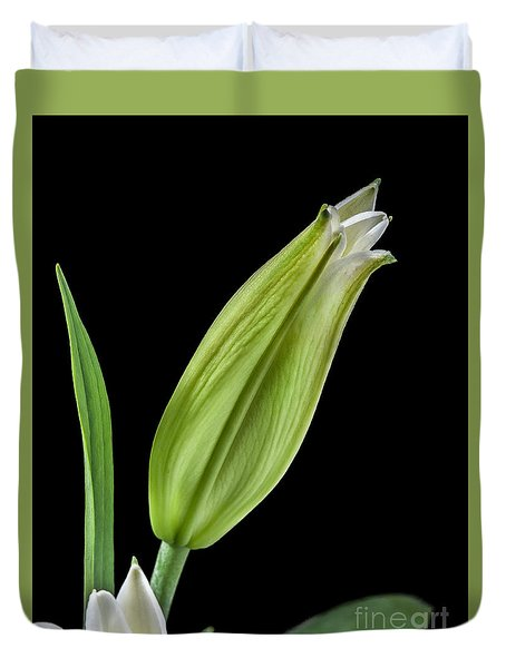 Duvet Cover featuring the photograph White Oriental Lily About To Bloom by David Perry Lawrence